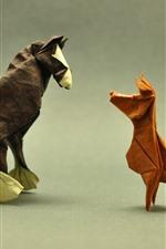 iPhone обои Собака и лошадь, оригами