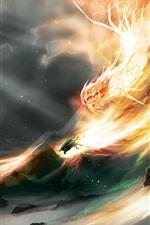 iPhone обои Дракон, пламя, скалы, художественная картинка