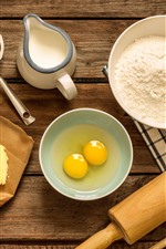 Preview iPhone wallpaper Eggs, flour, milk, oil, rolling pin, food