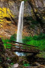 Preview iPhone wallpaper Elowah Falls, waterfall, bridge, rocks, moss, Oregon, USA