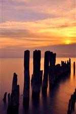 Preview iPhone wallpaper Evanston, Lake Michigan, sunset, clouds, wood