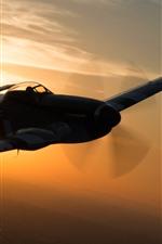 Vorschau des iPhone Hintergrundbilder Kämpfer, Flug, Sonnenuntergang, Himmel, Silhouette