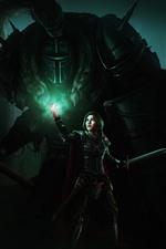 Girl, warrior, sword, armor, art picture
