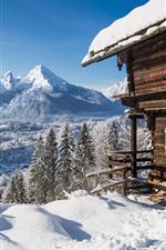 House, snow, trees, mountains, winter
