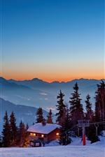 Aperçu iPhone fond d'écranMaisons, neige épaisse, lumières, arbres, montagnes, hiver, crépuscule