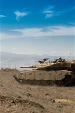 Preview iPhone wallpaper Israel, combat, tank, blue sky