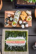Preview iPhone wallpaper Japanese cuisine, food, rice rolls, sushi, lemon