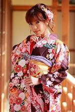 iPhone壁紙のプレビュー 日本の女の子、外観、着物、ポーズ