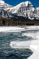 Preview iPhone wallpaper Jasper National Park, Canada, mountains, snow, river, forest, winter