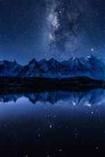 Lake, water reflection, mountains, starry, stars, night