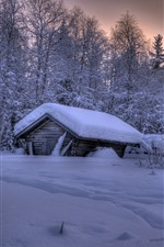 Preview iPhone wallpaper Lapland, Finland, thick snow, trees, house, dusk