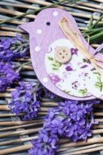 Preview iPhone wallpaper Lavender, purple flowers, bird decoration