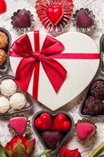 Amor corações, chocolate, doces, tulipas vermelhas