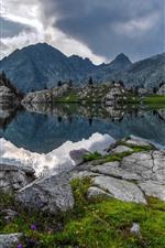 Mercantour National Park, mountains, lake, clouds, France