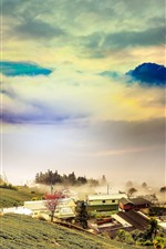 Preview iPhone wallpaper Mountains, slope, clouds, houses, village, fog, sunrise
