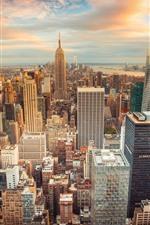 iPhone壁紙のプレビュー ニューヨーク、夕暮れ、高層ビル、サンセット、都市、アメリカ