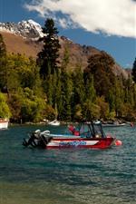 Aperçu iPhone fond d'écranNouvelle-Zélande, Queenstown, lac Wakatipu, montagnes, arbres, bateaux, yachts
