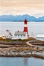 Preview iPhone wallpaper Norway, lighthouse, houses, sea, coast