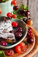 Preview iPhone wallpaper One slice cherry pie, cherries, fruit