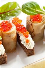 Preview iPhone wallpaper Pancake rolls, sandwich, red caviar, food