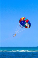 Parasailing, sea, boat, blue sky, island