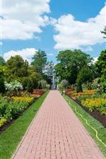 iPhone壁紙のプレビュー 公園、木、花、道路、噴水
