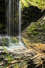 Vorschau des iPhone Hintergrundbilder Park, Wasserfall, Leiter, Brücke, Felsen, USA