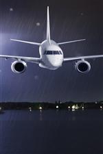 Avião, chuva, mar, relâmpago, tempestade, noite