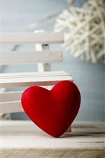 Preview iPhone wallpaper Red love hearts, bench, romantic