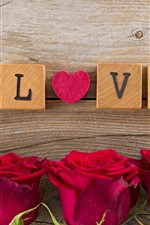 Preview iPhone wallpaper Red roses, love heart, wood cubes