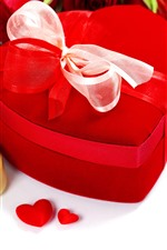 Preview iPhone wallpaper Romantic, red roses, love hearts, gift