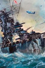 iPhone обои Море, корабль, WW2, художественная живопись