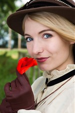 Preview iPhone wallpaper Smile blonde girl, red rose, hat