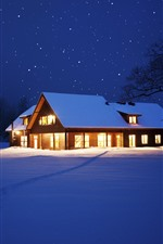 Aperçu iPhone fond d'écranNeige, maison, lumières, étoiles, nuit, arbres, hiver, noël
