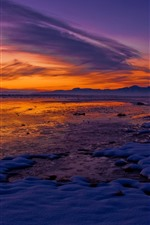 Preview iPhone wallpaper Snow, lake, lakeside, mountains, winter, sunset, red sky