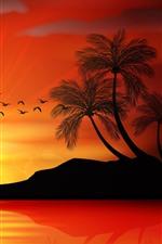 Aperçu iPhone fond d'écranCoucher de soleil, palmiers, île, mer, coucher de soleil, silhouette, vecteur
