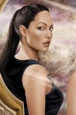 Preview iPhone wallpaper Tomb Raider, Lara Croft, art picture, look at mirror