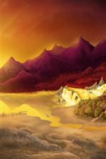 Aperçu iPhone fond d'écranArbres, montagnes, mer, cascade, soleil, éblouissement, image créative