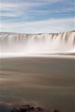 iPhone壁紙のプレビュー 滝、岩、川、霧