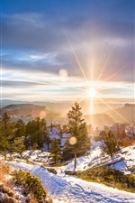 Preview iPhone wallpaper Winter, dawn, sunrise, snow, trees, mountains, sun rays