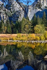 Preview iPhone wallpaper Yosemite National Park, lake, water reflection, mountains, trees