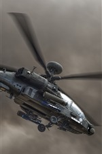 Helicóptero apache, céu, nuvens negras