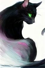 iPhone обои Художественная роспись, черная кошка, оглянуться назад, зеленые глаза, книга