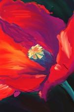 iPhone обои Художественная живопись, красный цветок, лепестки