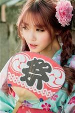 Linda garota japonesa, ventilador, trança, flor rosa, quimono