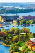 Красивый город, мост, река, деревья, красочные, Стокгольм, Швеция