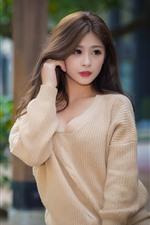 Aperçu iPhone fond d'écranBelle jeune fille asiatique, pull