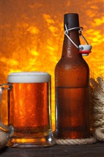 Preview iPhone wallpaper Beer, foam, cup, bottle, wheat