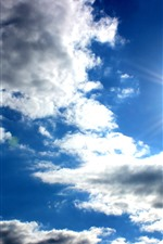Preview iPhone wallpaper Blue sky, white clouds, sun, glare
