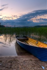 Preview iPhone wallpaper Boat, river, grass, dusk, clouds